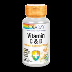 Vitamina C ( 1000 Mg) + D ( 2000UI) - 60 Vegcaps. - Solaray
