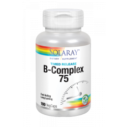 B Complex 75 - 100 VegCaps Acción Retardada.Sin Gluten. Apto Para Veganos - Solaray